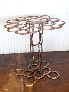 Hand Crafted Vintage Horseshoe Side Table Made from Horseshoes with Horse Figure
