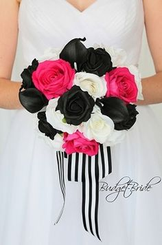 Hot pink and black wedding flower brides bouquet with stripped ribbon Bridesmaid Flowers, Bride Bouquets, Flower Bouquet Wedding, Flower Bouquets, Perfect Bride, Beautiful Bride, Beautiful Flowers, Hot Pink Roses, Pink Flowers