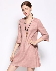 #VIPme ❤ Pink 3/4 Trumpet Sleeve V-neck Suede Mini Shift Dress. VIPme.com offers quality Pink, YZXH Shift Dresses at affordable prices.