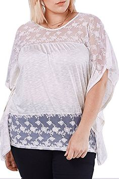 Womens Fashion Solid Short Sleeve Cream Lace Top USA Plus Size XT75 2XL *** Want additional info? Click on the image.