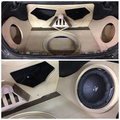 car audio custom install stereo. trunk walled off. darth vader face. fiberglass
