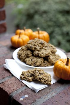 Oatmeal Pumpkin Chocolate Chip Cookie Recipe.  Made with whole wheat flour and dark chocolate!