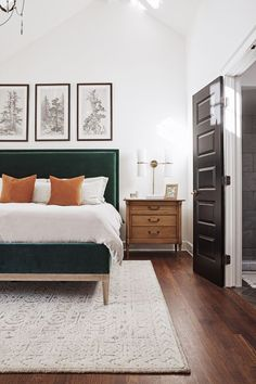 Beautifully Simple Bedroom Design and Decor Ideas. Plants in your bedroom. Cozy bedroom ideas that will not clutter your room. Bedroom Inspo, Home Bedroom, Green Master Bedroom, Bedroom Inspiration, Bedroom Rugs, Target Bedroom, Ikea Bedroom, Cozy Master Bedroom Ideas, Master Bedroom Design