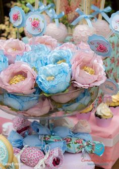 Pretty decorations at a shabby chic birthday party! See more party planning ideas at CatchMyParty.com!