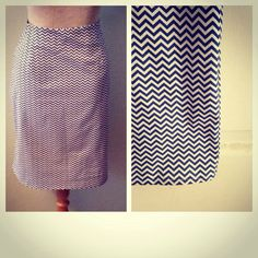 Navy and White Chevron Pencil Skirt sz. 6 RTS 6-22 available   on Etsy, $32.00
