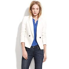 Love this crisp white blazer. Casual with denim, or over a hot dress for a night out in the city! Super chic