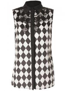 Black & White Checked Lace Overlay Sleeveless Blouse