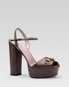 Gucci Claudie Metallic Ankle Strap Chunky High Heel Sandal