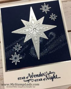 I love stars pictured over navy and that is how I have stamped this Star Of Light image today.