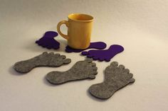 Foot shape  Felt Coaster  Set of 4 by FeelMyCraft on Etsy
