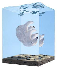 "Josh Keyes (USA) Sleeping V. Acrylic on panel, 24""x18"" (2008)Descent I. Acrylic on panel, 40""x30"" (2012)"