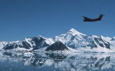The Dash 7 flying over Ryder Bay before coming into land at Rothera Research Station.