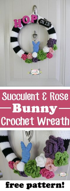 Make this easy succulent & rose bunny crochet wreath - perfect for spring or easter home decor | Free crochet pattern from Sewrella