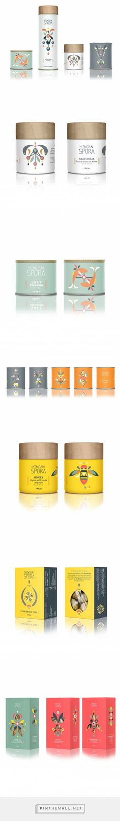 """Packaging Design Minoan Spora - """"Minoan Spora is a range of products from the island of Crete, including olive oil, herbs and infusions, honey, olives, rusks and cookies. / designed by lazy snail , Eleni Pavlaki"""