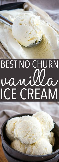 easy homemade ice cream This Best Ever No Churn Vanilla Ice Cream is the BEST vanilla ice cream to make at home, no ice cream maker required! It's perfectly creamy, smooth and ma Best Vanilla Ice Cream, Keto Ice Cream, Healthy Ice Cream, Make Ice Cream, Whipped Cream, Best Ice Cream Maker, Light Ice Cream Recipe, Vanilla Ice Cream Ingredients, Butter Pecan Ice Cream Recipe