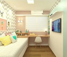 How to make the most of the elongated youth rooms Small Room Bedroom, Small Rooms, Girls Bedroom, Bedroom Decor, Bedrooms, Youth Rooms, Fashion Room, Dream Rooms, New Room