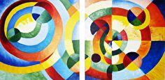 Het schilderij bestaat uit 2 kleurrijke abstracte schilderijen met vele cirkels, die in elkaar over gaan.