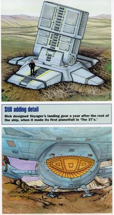 Concept Art taken from the Star Trek magazine of the Voyager There's some crazy ideas they were throwing around. I'm pleased with what they ended up with