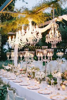 fairytale themed glamorous wedding reception ideas with chandeliers