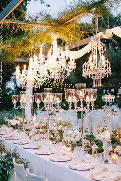 fairytale themed glamorous wedding reception ideas with chandeliers