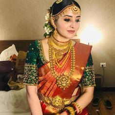 Bhama's wedding look <br> Wedding Saree Blouse Designs, Wedding Silk Saree, Silk Saree Blouse Designs, Punjabi Wedding, Blouse Patterns, Bridal Party Dresses, Wedding Dresses For Girls, Indian Wedding Outfits, Indian Weddings