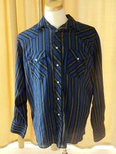 bff423643b1 Vintage Wrangler western pearl snap buttons striped x-long tails shirt 16  1 2