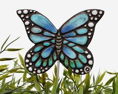 butterfly garden art plant stake garden decor by GVEGA on Etsy Butterfly Ornaments, Butterfly Decorations, Garden Ornaments, Garden Decorations, Specimen Trees, Ceramic Wall Art, Ceramic Clay, Pottery Painting, Painting Pots