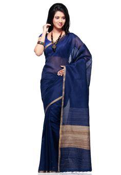 Dark Blue Pure Matka Silk Bengal Handloom Saree with Blouse