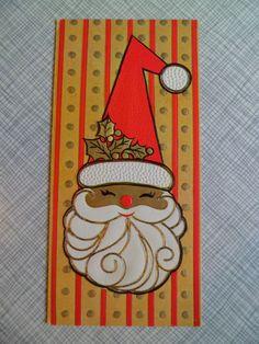 "Vintage Christmas Greeting Card~Mod Santa Claus~Gibson ""Christmas Gems""Embossed"