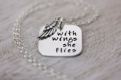 Fine Silver Necklace Pendant - Personalized Hand Stamped Necklace - With Wings She Flies by Christina Guenther