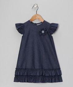{Indigo Chambray Angel-Sleeve Dress - Infant & Toddler by Petit Confection}