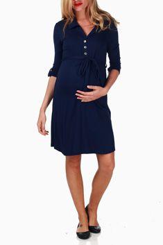Navy Blue Button Sash Maternity Dress