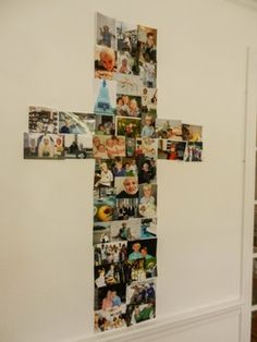 1st Communion Decoration Idea – Make a collage of pictures of the special child, formed into the shape of a cross, showing how they've grown...