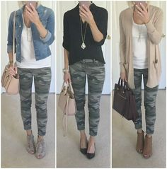 Camo jeans outfit ideas Camo jeans outfit ideas Kelly Outfits One thing I ve really tried to do Camo Jeans Outfit, Outfits With Camo Pants, Cute Jean Outfits, Cute Camo Outfits, Womens Jeans Outfits, Black Camo Pants, Trouser Jeans Outfit, Black Leggings Outfit Summer, Olive Pants Outfit