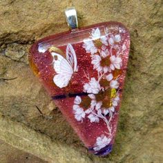 Salmon Pink  Dichroic Pendant Dichroic Jewelry Fused by GlassCat, $22.50