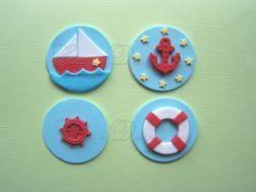 Edible Cupcake Topper Fondant NAUTICAL decor anchor sailboat , ship wheel Cake Cookie Mini Cake on Etsy, $15.99