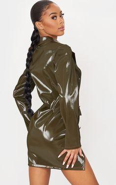 Wet Look, Blazer Dress, Braided Hairstyles, Contrast, Braids, Pencil, Leather Jacket, Legs, Chic