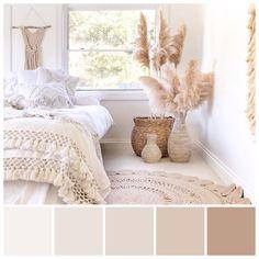Beige Walls Bedroom, Warm Bedroom Colors, White Wall Bedroom, Warm Colors, Beige Color Palette, Bedroom Colour Palette, Bedroom Colour Schemes Neutral, Room Ideas Bedroom, Bedroom Decor