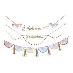 Mooie Unicorn slinger van Meri Meri, ' i believe in unicorns' voor op een meisjes kamer of voor een echt eenhoorn feest!