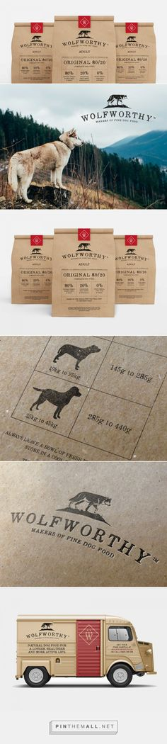 Like the faded stampe look - Wolfworthy Dog Food — The Dieline - Branding & Packaging Design - created via https://pinthemall.net