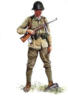 Rumuński żołnierz piechoty w hełmie stalowym na licencji holenderskiej wz. 28, uzbrojony w pistolet maszynowy Orita wz. 41 i polskie granaty wz. 24