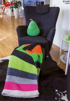 91428. FÄRGSTARK FILT I NEON LOVIKKA Crochet Home Decor, Knitted Baby Blankets, Knit Crochet, Crochet Afghans, Knitting Projects, Baby Knitting, Baby Car Seats, Wool, Pillows