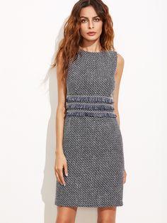 Vestido ajustado de tweed con flecos - azul marino-Spanish SheIn(Sheinside)