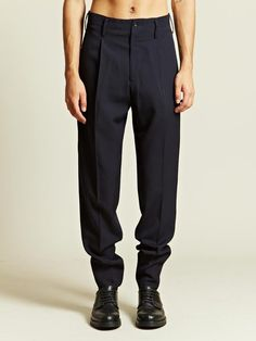 c1a4d9ab2cf3 Yohji Yamamoto Yohji Yamamoto Mens Pleated Trousers in Blue for Men (navy)  - Lyst