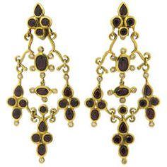 H. Stern Garnet Diamond Gold Dangle Earrings