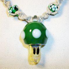 1 Up Mario Mushroom Pipe Bead Hemp Necklace  Green by psysub, $28.00