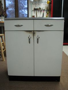 antique metal kitchen cabinet funky retro 1950s 60s white vintage kitchen cupboard 10663