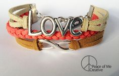 Layered LOVE & Infinity Bracelet in Coral