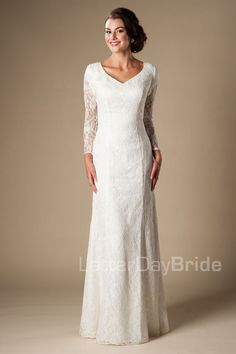 'Montgomery' modest long sleeve wedding gown