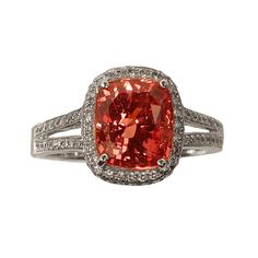 18k White Gold   Padparadscha Cushion Sapphire and Diamonds